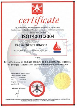 FARSA Energy Jonoob ISO 14001