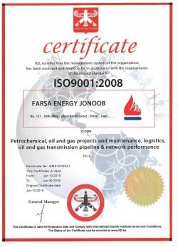 FARSA Energy Jonoob ISO 9001